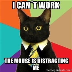 Business Cat - i can´t work  the mouse is distracting me