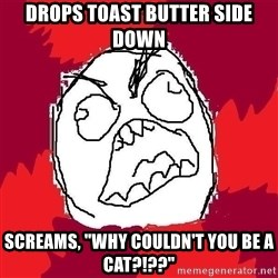 "Rage FU - drops toast butter side down screams, ""why couldn't you be a cat?!??"""