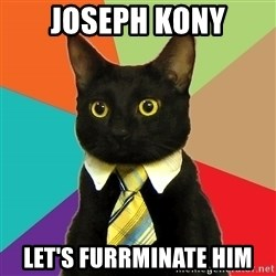 Business Cat - Joseph kony let's furrminate him