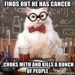 Chemistry Cat - Finds out he has cancer ..cooks meth and kills a bunch of people