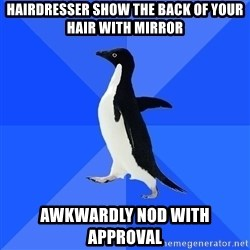 Socially Awkward Penguin - hairdresser show the back of your hair with mirror awkwardly nod with approval