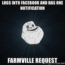 Forever Alone - logs into facebook and has one notification Farmville request