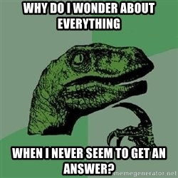 Philosoraptor - why do i wonder about everything when i never seem to get an answer?