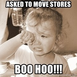 Distressed Toddler - Asked to move stores boo hoo!!!