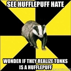 PuffBadger - See Hufflepuff Hate wonder if they realize Tonks is a Hufflepuff