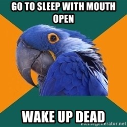 Paranoid Parrot - go to sleep with mouth open wake up dead