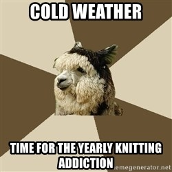 Fyeahknittingalpaca - cold weather time for the yearly knitting addiction