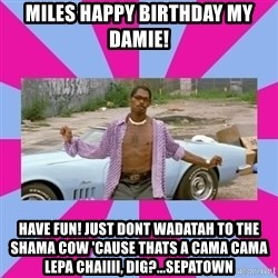 pootie tang - Miles happy birthday my damie! have fun! just dont wadatah to the shama cow 'cause thats a cama cama lepa Chaiiii, dig?...sepatown