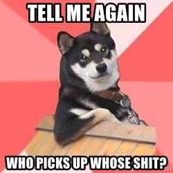 Cool Dog - tell me again who picks up whose shit?