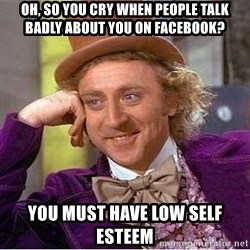 Willy Wonka - oh, so you cry when people talk badly about you on facebook? you must have low self esteem