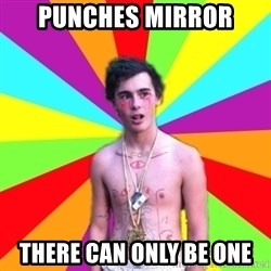 Coked-out Jackson - punches mirror there can only be one