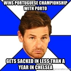 André Villas-Boas - Wins portuguese championship with Porto Gets sacked in less than a year in Chelsea
