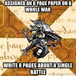 History Major Heraldic Beast - Assigned an 8 Page paper on a whole war write 8 pages about a single battle