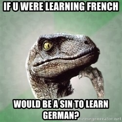 Philosoraptor - if u were learning french  would be a sin to learn german?
