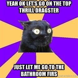 Anxiety Cat - yeah ok let's go on the top thrill dragster just let me go to the bathroom firs