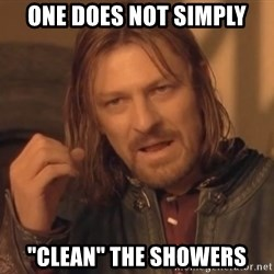 """Aragorn - one does not simply """"Clean"""" the showers"""