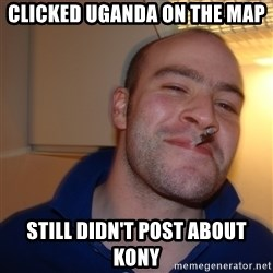 Good Guy Greg - clicked Uganda on the map still didn't post about kony