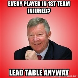 Sir Alex Ferguson - every player in 1st team injured? Lead table anyway