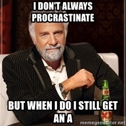 The Most Interesting Man In The World - i don't always procrastinate but when i do i still get an a
