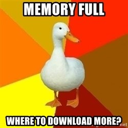 Technologically Impaired Duck - memory full where to download more?