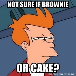 Futurama Fry - Not Sure if Brownie or Cake?