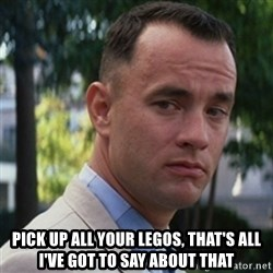 forrest gump - PICK UP ALL YOUR LEGOS, THAT'S ALL I'VE GOT TO SAY ABOUT THAT