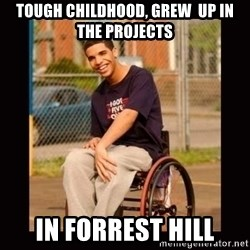 Wheelchair Jimmy - tough childhood, grew  up in the projects in forrest hill