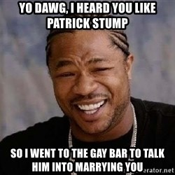 Yo Dawg - Yo dawg, I heard you like patrick stump so I went to the gay bar to talk him into marrying you