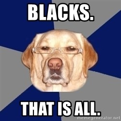Racist Dawg - Blacks. That is all.