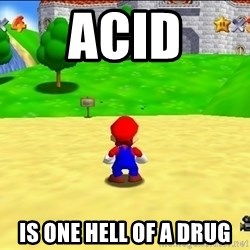 Mario looking at castle - acid is one hell of a drug