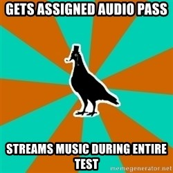 QA Pigeon - gets assigned audio pass streams music during entire test