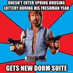 Chuck Norris  - doesn't enter spring housing lottery during his freshman year gets new dorm suite