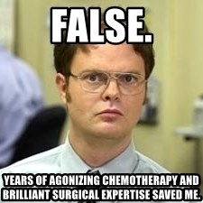 Dwight Shrute - False. Years of agonizing chemotherapy and brilliant surgical expertise saved me.