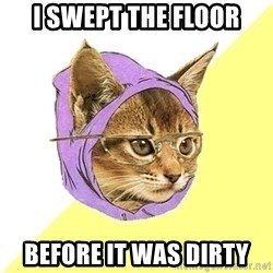 Hipster Kitty - i swept the floor before it was dirty