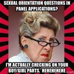 Condescending Director - Sexual orientation questions in panel applications? I'm actually checking on your boy/girl parts.  HEHEHEHEHE
