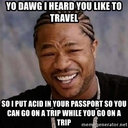 Yo Dawg - yo dawg i heard you like to travel so i put acid in your passport so you can go on a trip while you go on a trip