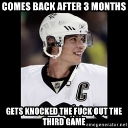 sidney crosby - comes back after 3 months  gets knocked the fuck out the third game
