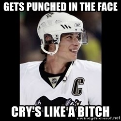 sidney crosby - gets punched in the face  cry's like a BITCH