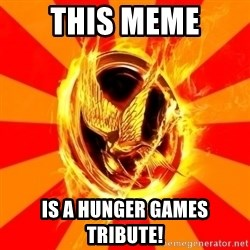 Typical fan of the hunger games - this meme is a hunger games tribute!