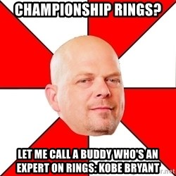 Pawn Stars - Championship rings? Let me call a buddy who's an expert on rings: Kobe Bryant