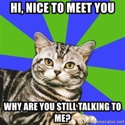 Introvert Cat - Hi, nice to meet you why are you still talking to me?