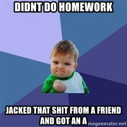 Success Kid - DIDNT DO HOMEWORK JACKED THAT SHIT FROM A FRIEND AND GOT AN A