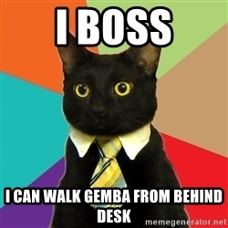 Business Cat - I boss I can walk gemba from behind desk