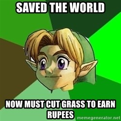 Link - Saved the world now must cut grass to earn rupees