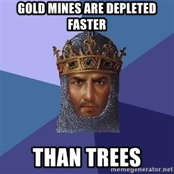 Age Of Empires - gold mines are depleted faster than trees