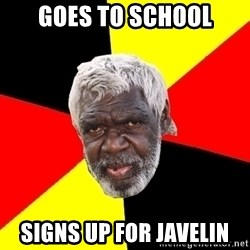 Abo - Goes to school signs up for javelin