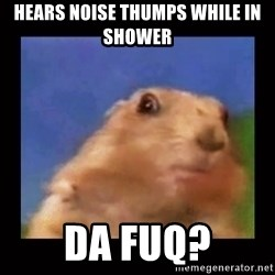 Dafuq? Chipmonk - Hears noise thumps while in shower Da fuq?