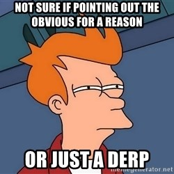 Futurama Fry - not sure if pointing out the obvious for a reason or just a derp