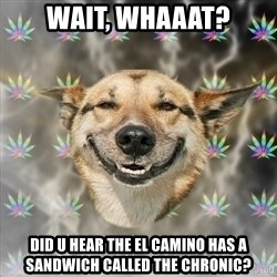 Stoner Dog - Wait, Whaaat? Did u hear the el camino has a sandwich called the chronic?