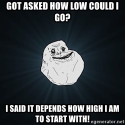 Forever Alone - got asked how low could i go? i said it depends how high i am to start with!